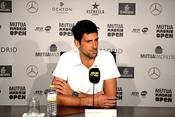 May 6, 2019 - Madrid, Spain - Press conference of Novak Djokovic during day three of the Mutua Madrid Open at La Caja Magica in Madrid on 6th May, 2019. (Credit Image: © Juan Carlos Lucas/NurPhoto via ZUMA Press)