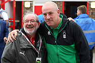 Nottingham Forest Manager Mark Warburton poses with a Brentford fan as he returns to his old club. EFL Skybet football league championship match, Brentford  v Nottingham Forest at Griffin Park in London on Saturday 12th August 2017.<br /> pic by Steffan Bowen, Andrew Orchard sports photography.