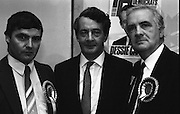 P.Ds Pre Election Press Conference. (R48)..1987..21.01.1987..01.21.1987..21st January 1987..In advance of the forthcoming General Election,The Progressive Democrat Party Launched its election manifesto. The press conference, under the auspices of party leader Des O'Malley was held at the Burlington Hotel,Dublin...Photographed at the PD press conference were Mr David O'Keefe, Clare Candidate; Party leader ,Des O'Malley and another Clare candidate Tom Meaney.