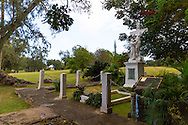 The memorial to Mother Marianne as seen on the guided tour at the historic site of Kalaupapa on the island of Molokai, Hawaii, USA