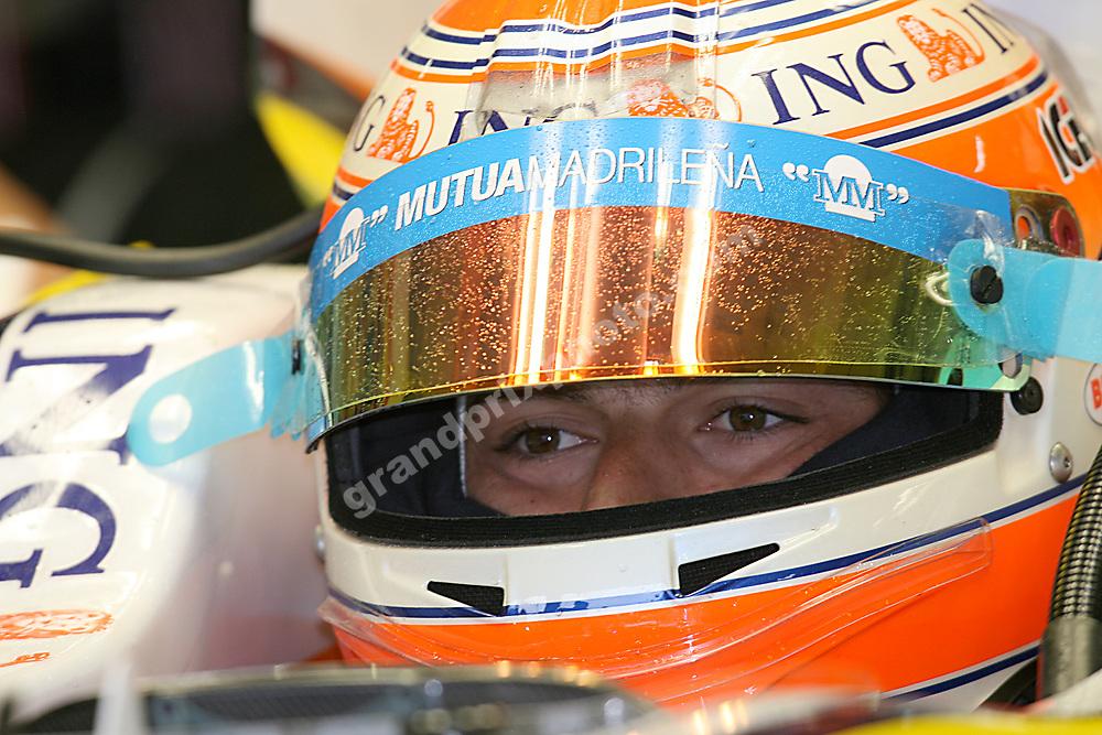 Nelson Piquet Jr.(Renault) with helmet at the 2008 German Grand Prix at Hockenheim. Photo: Grand Prix Photo