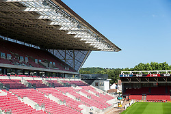 A general view inside Ashton Gate Stadium, home of Bristol City Football Club and Bristol Rugby, as the new West Stand nears completion ahead of the new season - Mandatory byline: Rogan Thomson/JMP - 19/07/2016 - SPORT - Ashton Gate Stadium - Bristol, England.