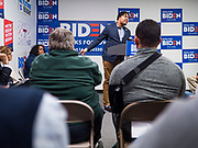 08 JANUARY 2020 - DES MOINES, IOWA: Pennsylvania State Representative MALCOLM KENYATTA, a Biden surrogate, speaks on behalf of Democratic Presidential candidate and former Vice President Joe Biden. Vice President Biden's surrogates are touring Iowa this week to support Biden's candidacy for the US Presidency. Iowa hosts the first presidential selection event of the 2020 election cycle. The Iowa caucuses are on February 3, 2020.              PHOTO BY JACK KURTZ