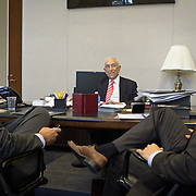Senator Frank Lautenberg (D-NJ) listens to Chief Council, Ben Dunham, right and Legislative Director, Dan McCarthy, left, inside his office in Washington following a hearing to vote for an Obama administration nominee on Thursday, May 16, 2013.  Sen. Lautenberg had not been in Washington since February 28, as weakness in his legs has prevented him from traveling to the Capitol. He died only a few weeks later, on June 3, 2013. John Boal Photography