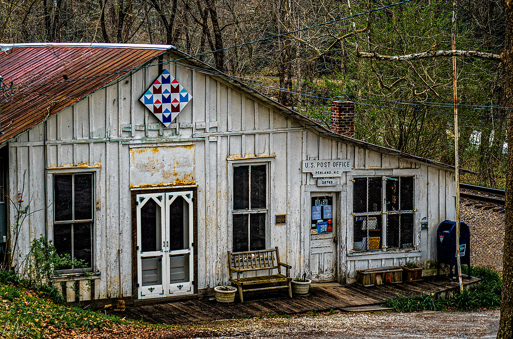 Penland Post Office on a cloudy winter's day. Penland, is the famous arts and crafts school, in Penland, NC
