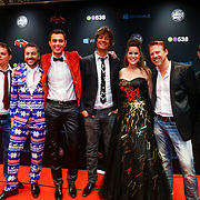 NLD/Amsterdam/20121222 - Inloop 538Jingleballs 2012, dj's radio 538, Edwin Noorlander, Jens Timmermans, Mark Labrand, Frank Dane, Kimberly van der Berkt, Tim Klein, Robin Lefeber