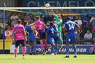 AFC Wimbledon goalkeeper Joe McDonnell (24) punching the ball clear during the Pre-Season Friendly match between AFC Wimbledon and Queens Park Rangers at the Cherry Red Records Stadium, Kingston, England on 14 July 2018. Picture by Matthew Redman.