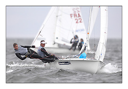 470 Class European Championships Largs - Day 2.Wet and Windy Racing in grey conditions on the Clyde..GBR853, Anna BURNET, Flora STEWART, RNCYC...