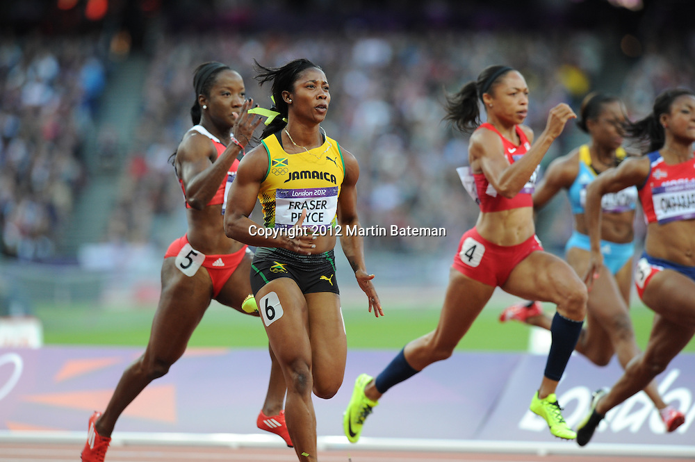 Shelly-Ann Fraser-Pryce and Allyson Felix compete in the Olympics 100m on August 4th 2012