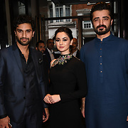 "Ahad Raza Mir,Hania Amir and Hamza Ali star of the movie attend Photocall in London Premiere of ""Parwaaz Hai Junoon"" (Soaring Passion) as featured on SKY, ITV at The May Fair Hotel, Stratton Street, London, UK. 22 August 2018."