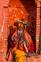 A sadhu (Holy man) at the Pashupatinath Temple, a Hindu temple along the Bagmati River in Kathmandu, Nepal. The Bagmati is equally as sacred to Nepalese as the Ganges is to Indians. Hindus come to be cremated here.