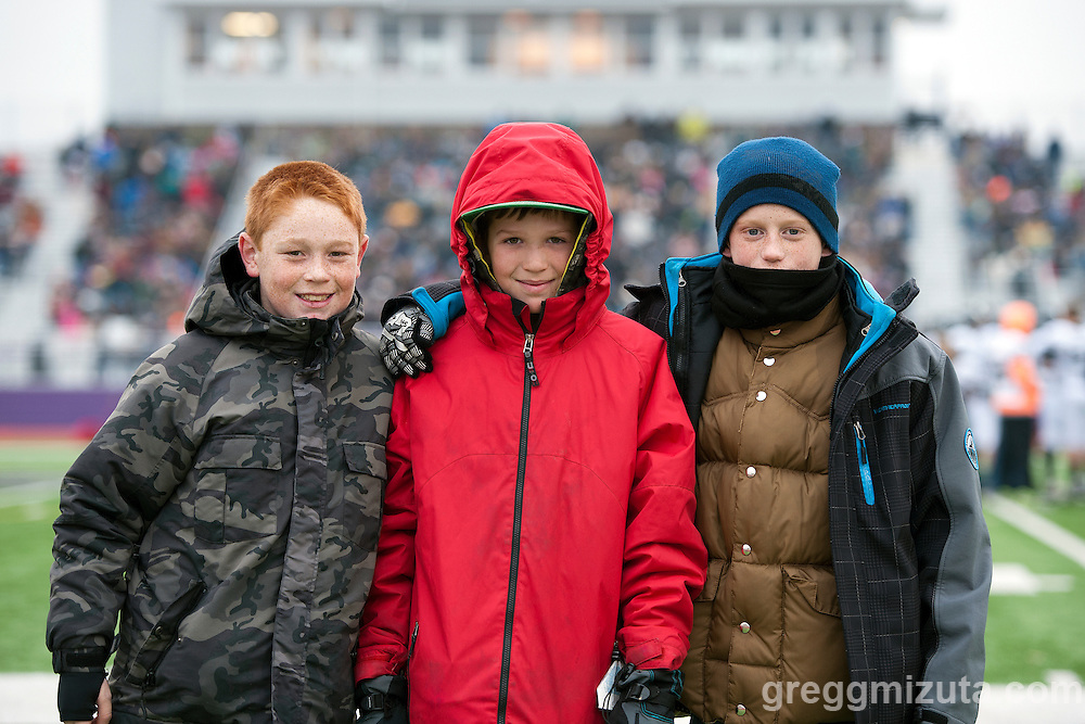 Vale waterboys (L to R: Zane Bidwell, Silas Currey, Charlie Flynn) before the start of the Vale - Santiam Christian 3A Championship game at Kennison Field, Hermiston, Oregon, Saturday, November 28, 2015. Vale won 27-20.