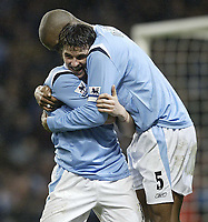 Photo: Aidan Ellis.<br /> Manchester City v Charlton Athletic. The Barclays Premiership. 12/02/2006.<br /> City's Joey Barton celebrates his goal and teams third with Sylvain Distin