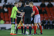 Brighton U18 Jordan Maguire-Drew  and Nottingham Forest U/18  Ryan Yates  during the FA Youth Cup match between U18 Nottingham Forest and U18 Brighton at the City Ground, Nottingham, England on 10 December 2015. Photo by Simon Davies.