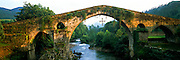 SPAIN, NORTH COAST, ASTURIAS Cangas de Onis, 13th c. bridge, Rio Sella