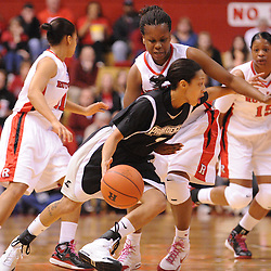 Feb 21, 2009; Piscataway, NJ, USA; Providence guard Trinity Hull (2) tries to escape from the pressure of Rutgers guard Epiphanny Prince (10) during the first half of Rutgers' 55-42 victory over Providence at the Louis Brown Athletic Center.