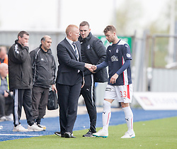 Falkirk's manager Gary Holt subs Falkirk's Rory Loy.<br /> Falkirk 3 v 1 Alloa Athletic, Scottish Championship game played today at The Falkirk Stadium.<br /> © Michael Schofield.