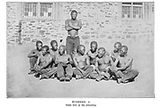 Photographed at Breakwater, Cape Town 1871 From the book '  Specimens of Bushman folklore ' by Bleek, W. H. I. (Wilhelm Heinrich Immanuel), Lloyd, Lucy Catherine, Theal, George McCall, 1837-1919 Published in London by  G. Allen & Company, ltd. in 1911. The San peoples (also Saan), or Bushmen, are members of various Khoe, Tuu, or Kx'a-speaking indigenous hunter-gatherer groups that are the first nations of Southern Africa, and whose territories span Botswana, Namibia, Angola, Zambia, Zimbabwe, Lesotho and South Africa.