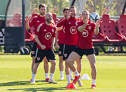 CARDIFF, WALES - Tuesday, September 7, 2021: Wales' captain Gareth Bale (R) during a training session at the Vale Resort ahead of the FIFA World Cup Qatar 2022 Qualifying Group E match between Wales and Estonia. (Pic by David Rawcliffe/Propaganda)