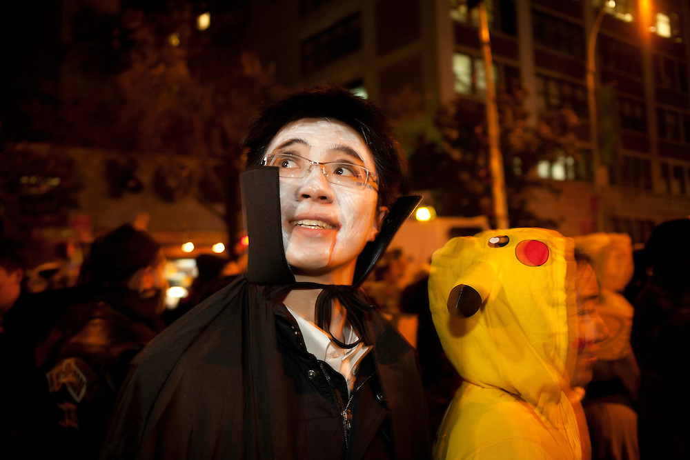 A ghoulish chartacter in New York's Greenwich Village Halloween Parade.