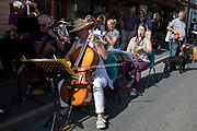 Band plays music at the annual Michaelmas Fair in the small market town of Bishops Castle, England, United Kingdom.