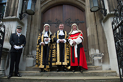 © London News Pictures. 19/05/15. London, UK. From L to R: The Lord Dyson Master of the Rolls, The Lord Chancellor Michael Gove and Lord Thomas The Lord Chief Justice of England and Wales ahead of Gove's swearing in ceremony as the Lord Chancellor, Royal Courts of Justice, Central London. Photo credit: Laura Lean/LNP/05/15.