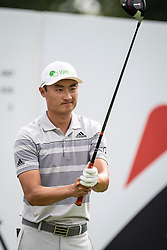 August 2, 2018 - Akron, OH, U.S. - AKRON, OH - AUGUST 02:  HaoTong Li (CHN) lines-up his shot from the 16th tee during the first round of the WGC-Bridgestone Invitational on August 2, 2018 at the Firestone Country Club South Course in Akron, Ohio. (Photo by Shelley Lipton/Icon Sportswire) (Credit Image: © Shelley Lipton/Icon SMI via ZUMA Press)