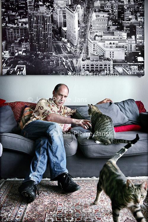Nederland,Amsterdam ,9 augustus 2008..Bram van Splunteren is een Nederlandse programmamaker. Hij is programmamaker voor de VPRO en in het verleden voor de RVU. Hij begon zijn carrière als film- en muziekjournalist voor onder meer OOR en Vrij Nederland...