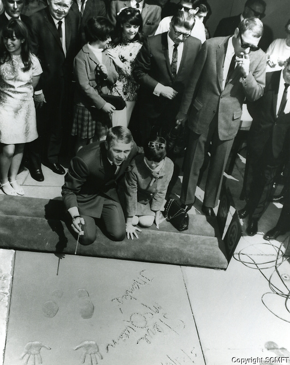 1967 Steve McQueen's hand/footprint ceremony at Grauman's Chinese Theater