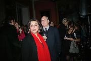LADY NAIPAUL AND ADAM LOW, The Literary Review Bad sex in Fiction Award 2007. The In and Out Naval and Military Club. St. James's Sq. London. 27 November 2007. -DO NOT ARCHIVE-© Copyright Photograph by Dafydd Jones. 248 Clapham Rd. London SW9 0PZ. Tel 0207 820 0771. www.dafjones.com.