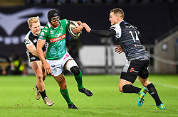Ian McKinley of Benetton Treviso is tackled by Aled Davies of Ospreys<br /> <br /> Photographer Craig Thomas/Replay Images<br /> <br /> Guinness PRO14 Round 4 - Ospreys v Benetton Treviso - Saturday 22nd September 2018 - Liberty Stadium - Swansea<br /> <br /> World Copyright © Replay Images . All rights reserved. info@replayimages.co.uk - http://replayimages.co.uk
