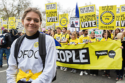 London, UK. 23rd March, 2019. Lara Spirit of Our Future Our Choice prepares to join a million people on the Put It To The People march for a People's Vote through central London before attending a rally in Parliament Square addressed by politicians and entertainers.