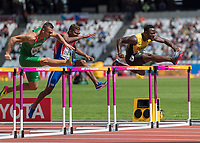Athletics - 2017 IAAF London World Athletics Championships - Day Three, Morning Session<br /> <br /> 110m Hurdles Men - Heats<br /> <br /> Omar McLeod (Jamacia) on the inside coms home ahead of the field at the London Stadium<br /> <br /> COLORSPORT/DANIEL BEARHAM