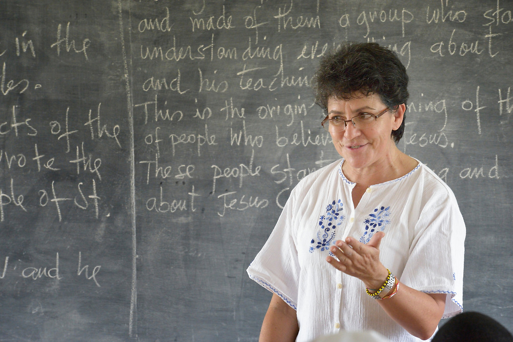 Sister Carmita Cabrera teaches a class at the Solidarity Teacher Training College in Yambio, South Sudan. Run by Solidarity with South Sudan, an international network of Catholic organizations supporting the development of the world's newest country, the College trains teachers from throughout the nation. Cabrera, a Comboni sister, is from Ecuador.