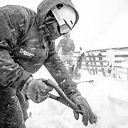 Employees remove snow from a monster winter storm deposit over night.