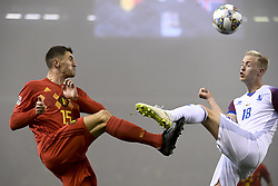 November 15, 2018 - Brussels, Belgium - Belgium's THOMAS MEUNIER and Iceland's HORDUR MAGNUSSON in action during the match between Belgian national team the Red Devils and Iceland, in Brussels. (Credit Image: © Dirk Waem/Belga via ZUMA Press)