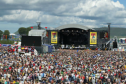 The view from the ferris wheel of the main stage area as Razorlight play on the main stage at T in the Park Sunday 10 July 2005, at Balado, Fife...