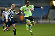Jordan Lee of Bournemouth in action. The Emirates FA Cup 3rd round match, Millwall v AFC Bournemouth at The Den in London on Saturday 7th January 2017.<br /> pic by John Patrick Fletcher, Andrew Orchard sports photography.