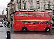 © Licensed to London News Pictures. 16/12/2011, London, UK.  An original route master. The first bus designed specifically for London arrived in the capital today, carrying the Mayor of London BORIS JOHNSON. The bus design is based on the famous red route master buses with a rear platform for access. Photo credit : Stephen Simpson/LNP