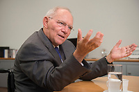 16 NOV 2016, BERLIN/GERMANY:<br /> Wolfgang Schaeuble, CDU, Federal Minister of Finance, during an Interview, in his office, Federal Ministy of Finance<br /> Wolfgang Schaeuble, CDU, CDU, Bundesfinanzminister, waehrend einem Interview, in seinem Buero, Bundesministerium der Finanzen<br /> IMAGE: 20161116-02-029<br /> KEYWORDS: Wolfgang Schäuble, Büro