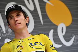 July 20, 2018 - Valence, FRANCE - British Geraint Thomas of Team Sky wearing the yellow jersey pictured at the start of the 13th stage in the 105th edition of the Tour de France cycling race, from Bourg d'Oisans to Valence (169,5 km), France, Friday 20 July 2018. This year's Tour de France takes place from July 7th to July 29th. BELGA PHOTO DAVID STOCKMAN (Credit Image: © David Stockman/Belga via ZUMA Press)