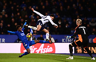 Dele Alli of Tottenham Hotspur is challenged by Demarai Gray of Leicester City .Premier league match, Leicester City v Tottenham Hotspur at the King Power Stadium in Leicester, Leicestershire on Tuesday 28th November 2017.<br /> pic by Bradley Collyer, Andrew Orchard sports photography.