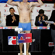 Istanbulls David Oliver JOYCE boxers seen during their Presentation and the weighing ceremony matchday 5 of the World Series of Boxing at Ayhan Sahenk Arena in Istanbul, Turkey, Thursday, March 10, 2011. Photo by TURKPIX