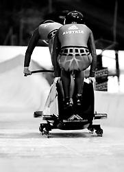 03.12.2011, Eiskanal, Igls, AUT, Viessmann FIBT Bob und Skeleton Weltcup, Teambewerb, zweier Bob Damen, im Bild Christina Hengster, Anna Feichtner (AUT) Feature Schwarz weiss // black an white Feature of Austrians Christina Hengster, Anna Feichtner Team competition two ladies bob at FIBT Viessmann Bobsleigh and Skeleton World Cup at Olympic ice canal, Innsbruck Igls, Austria on 2011/12/03. EXPA Pictures © 2011, PhotoCredit: EXPA/ Johann Groder