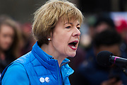 Sen. Tammy Baldwin (D-WI) speaks about common sense gun regulation during the March for our Lives protest in Madison, Wisconsin, Saturday, March 24, 2018.