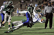 John Tyler WR Darion Flowers gets slammed at the one yard line during their game against Waxahachie at Homer B. Johnson in Garland. © 2012 Jaime R. Carrero/ETSN.FM