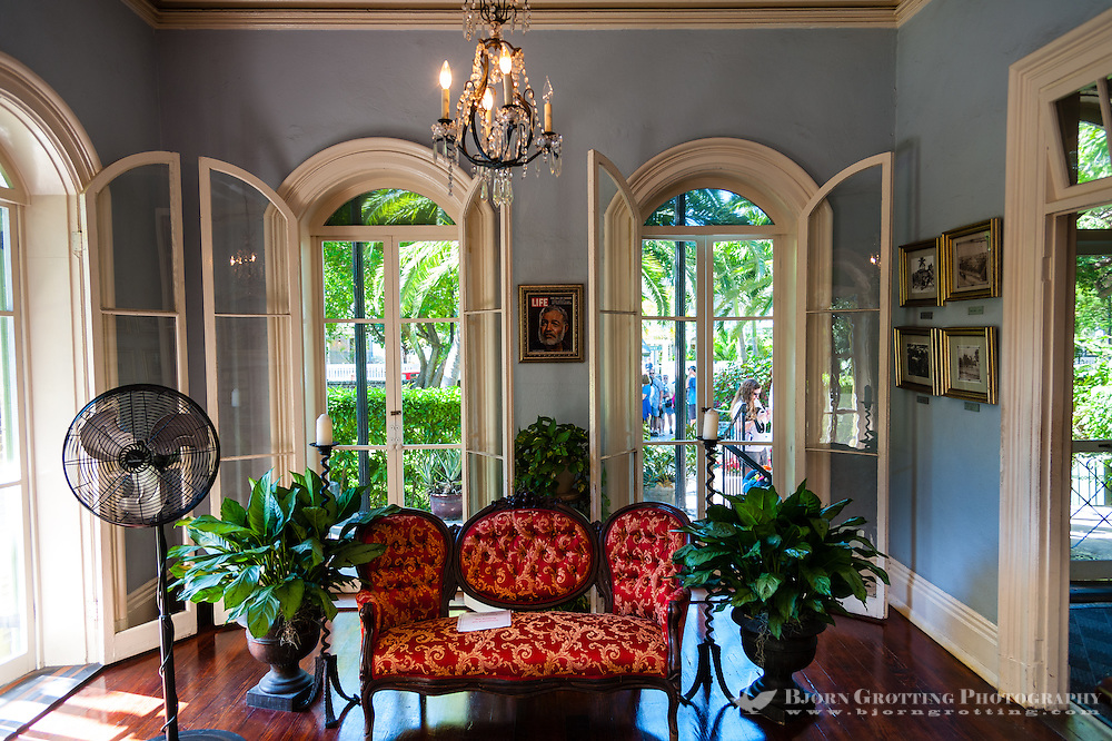 US, Florida, Key West. Interior of Ernest Hemingway Home.