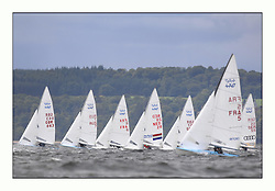 470 Class European Championships Largs - Day 3.Brighter conditions with more wind...Men, Upwind, Fleet, .