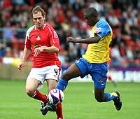 Photo: Mark Stephenson.<br /> Wrexham v Hereford United. Coca Cola League 2. 01/09/2007.Hereford's Theo Robinson trys to get around Rexham's Shaun Pejic
