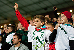 Slovenian fans during football match between National Teams of Slovenia and Serbia of UEFA Euro 2012 Qualifying Round in Group C on October 11, 2011, in Stadium Ljudski vrt, Maribor, Slovenia.  Slovenia defeated Serbia 1-0. (Photo by Vid Ponikvar / Sportida)